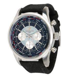 Breitling Black and Stainelss Steel Canvas Transocean Unitime AB0510U4/BB62 Men's Wristwatch 46MM