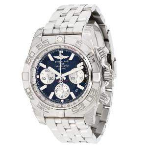 Breitling Blue and Stainless Steel Chronomat 44 AB011012/B967 Men's Wristwatch 44MM
