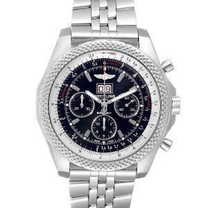 """ساعة يد رجالية بريتلينغ """"بينتلي 6.75 سبيد"""" كرونوغراف ستانلس ستيل سوداء 49 مم"""