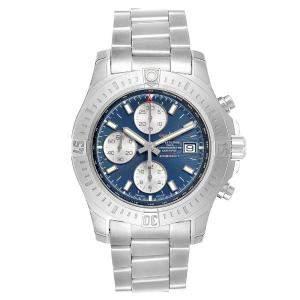 ساعة يد رجالية بريتلينغ كولت أوتوماتيك كرونوغراف ايه13388 ستانلس ستيل زرقاء 44 مم