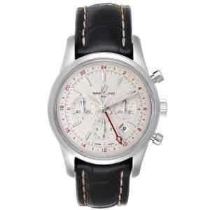 ساعة يد رجالية بريتلينغ ترانساوشن ايه بي0451 ستانلس ستيل فضية 43 مم