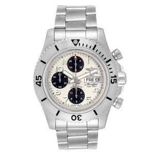 ساعة يد رجالية بريتلينغ ايرومارين سوبرأوشن كرونوغراف ستيلفيش ايه13341 ستانلس ستيل بيضاء 44 مم