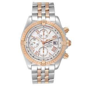 ساعة يد رجالية بريتلينغ كرونومات افوليوشن سي13356 ستانلس ستيل وذهب وردي عيار 18 بيضاء 43 مم