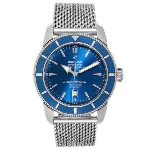 ساعة يد رجالية بريتلينغ سوبرأوشن هيراتدج ستانلس ستيل زرقاء 46 مم