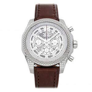 """ساعة يد رجالية بريتلينغ """"بينتيلي بارناتو ايه41390ايه پي/جي788"""" ستانلس ستيل و ألماس فضية 42 مم"""