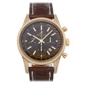 """ساعة يد رجالية بريتلينغ """"ترانساوشان كرونوغرا أربي0152ايه أف/كيو596"""" ذهب وردي و ألماس برونزي 43 مم"""