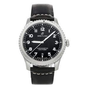 ساعة يد رجالية بريتلينغ  نافي تايمر أفياتور سوبر 8 A17314101/B1X1 ستانلس ستيل سوداء 41مم