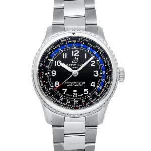 """ساعة يد رجالية بريتلينغ """"افياتور 8 بي35 يونيتايم ايه بي3521يو41/بي1ايه1"""" ستانلس ستيل سوداء 43 مم"""