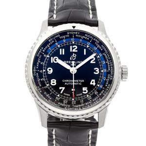 """ساعة يد رجالية بريتلينغ """"افياتور 8 بي35 يونيتايم ايه بي3521يو41بي1پي2"""" ستانلس ستيل سوداء 43 مم"""