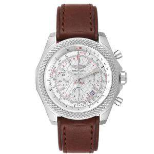 Breitling Silver Stainless Steel Bentley B05 Unitime Silver Dial Mens Watch AB0612 Men's Wristwatch 49 MM