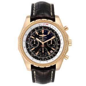 Breitling Black 18K Yellow Gold Bentley Chronograph K25362 Men's Wristwatch 49 MM