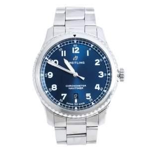 Breitling Blue Stainless Steel Navitimer 8 A71314 Men's Wristwatch 41 mm