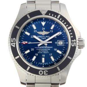 Breitling Blue Stainless Steel Super Ocean II A17365 Men's Wristwatch 42 MM