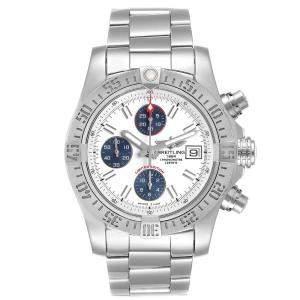 Breitling Off White Stainless Steel Aeromarine Super Avenger A13381 Men's Wristwatch 43 MM