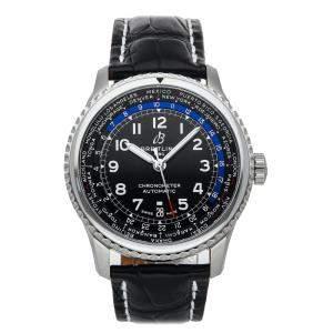 Breitling Black Stainless Steel Aviator 8 B35 Unitime AB3521U41B1P1 Men's Wristwatch 43 MM