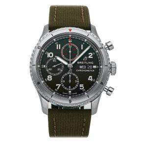 Breitling Green Stainless Steel Aviator 8 Chronograph Curtiss Warhawk Edition A133161A1L1X1 Men's Wristwatch 43 MM