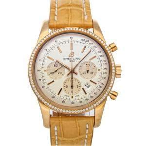 Breitling Silver Diamonds 18K Rose Gold Transocean Chronograph RB015253/G738 Men's Wristwatch 43 MM