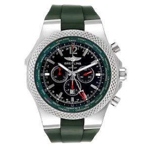 Breitling Black/Green Stainless Steel Bentley GMT Limited Edition A47362 Men's Wristwatch 49 MM