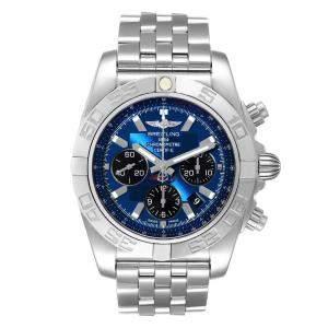 Breitling Blue Stainless Steel Chronomat 01 AB0110 Men's Wristwatch 43.5 MM