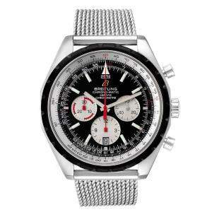 Breitling Black Stainless Steel Chronomatic Chronograph A41360 Men's Wristwatch 49 MM