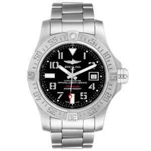 Breitling Black Stainless Steel Aeromarine Avenger II Seawolf A17331 Men's Wristwatch 45 MM