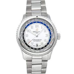 Breitling Silver Stainless Steel Aviator 8 B35 Unitime AB3521U01/G1A1 Men's Wristwatch 43 MM
