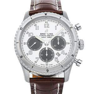 Breitling Silver Stainless Steel Navitimer 8 B01 Chronograph AB01171A1G1P1 Men's Wristwatch 43 MM