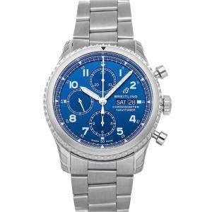 Breitling Blue Stainless Steel Navitimer 8 Chronograph A13314101C1A1 Men's Wristwatch 43 MM