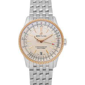Breitling Silver 18K Rose Gold And Stainless Steel Navitimer Automatic U17325211G1A1 Men's Wristwatch 38 MM