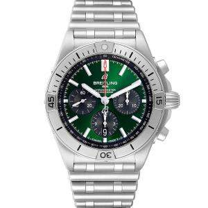 Breitling Green Stainless Steel Chronomat B01 AB0134 Men's Wristwatch 42 MM