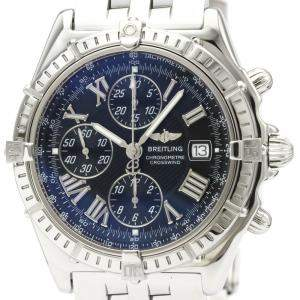 Breitling Black Stainless Steel Crosswind Chronograph Automatic A13355 Men's Wristwatch 44 MM