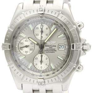 Breitling Silver Stainless Steel Crosswind Chronograph Automatic A13355 Men's Wristwatch 44 MM