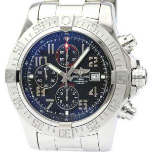 Breitling Black Stainless Steel Super Avenger II Chronograph A13371 Men's Wristwatch 49 MM