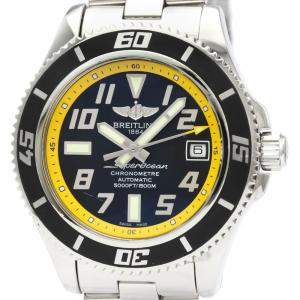 Breitling Black/Yellow Stainless Steel Superocean Automatic A17364 Men's Wristwatch 42 MM