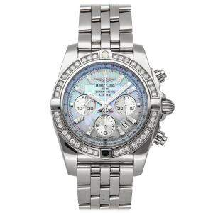 Breitling MOP Diamonds Stainless Steel Chronomat AB011053/G686 Men's Wristwatch 44 MM