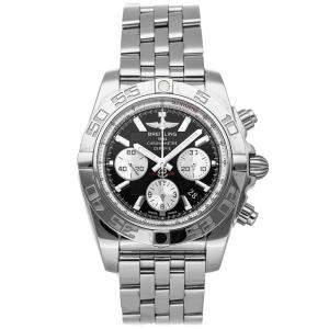 """ساعة يد رجالية بريتلينغ """"كرونومات بي01 ايه بي011012/بي967"""" ستانلس ستيل سوداء 44 مم"""
