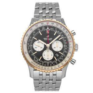Breitling Black 18K Rose Gold And Stainless Steel Navitimer B01 Chronograph  Men's Wristwatch 46 MM