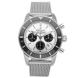 Breitling Silver Stainless Steel Superocean Heritage B01 Chronograph AB0162121G1A1 Men's Wristwatch 44 MM