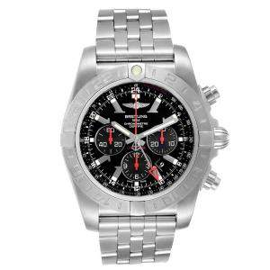 Breitling Black Stainless Steel Chronomat GMT Limited Edition AB0412 Men's Wristwatch 47 MM