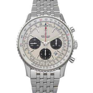 Breitling Silver Stainless Steel Navitimer B01 Chronograph AB0121211G1A1 Men's Wristwatch 43 MM