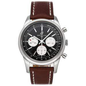 Breitling Black Stainless Steel Transocean Chronograph AB015212/BF26 Men's Wristwatch 43 MM