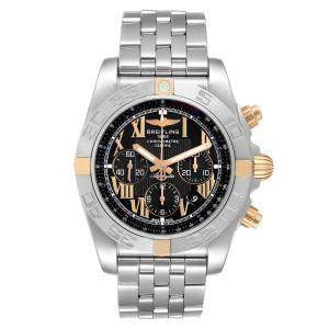 Breitling Black 18K Rose Gold And Stainless Steel Chronomat IB0110 Men's Wristwatch 43.5 MM