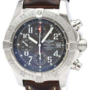 Breitling Gray Stainless Steel Avenger Chronograph Automatic A13380 Men's Wristwatch 44 MM