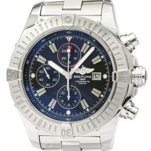 Breitling Black Stainless Steel Super Avenger Chronograph Automatic A13370 Men's Wristwatch 48 MM