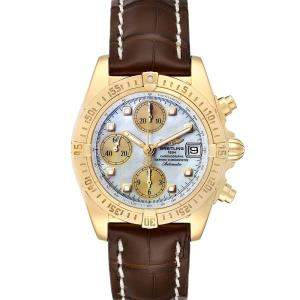 Breitling MOP Diamonds 18K Yellow Gold Windrider Cockpit B13355 Men's Wristwatch 39 MM