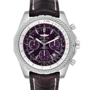 Breitling Purple Stainless Steel Bentley Chronograph A25362 Men's Wristwatch 49 MM