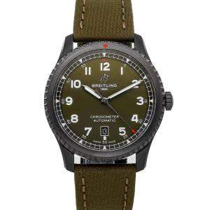 "Breitling Green Blacksteel Aviator 8 ""Curtiss Warhawk"" M173152A1L1X1 Men's Wristwatch 41 MM"