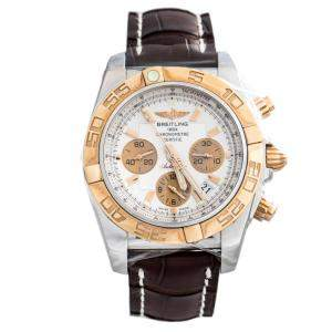 Breitling White 18K Rose Gold and Stainless Steel Chronomat CB11012/G687/436X Men's Wristwatch 44 mm