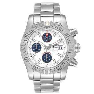 Breitling White Stainless Steel Aeromarine Super Avenger A13381 Men's Wristwatch 43 MM
