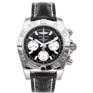 """ساعة يد رجالية بريتلينغ """"كرونومات ايه بي014012/بي ايه52"""""""" ستانلس ستيل سوداء 41 مم"""